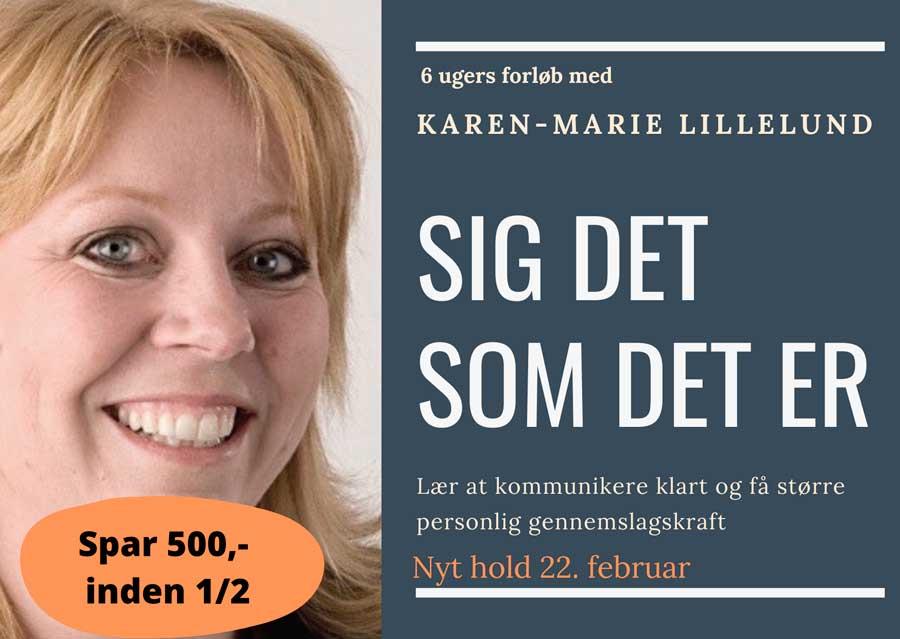 Karen-Marie afbildet i reklame for online kursus i kommunikation